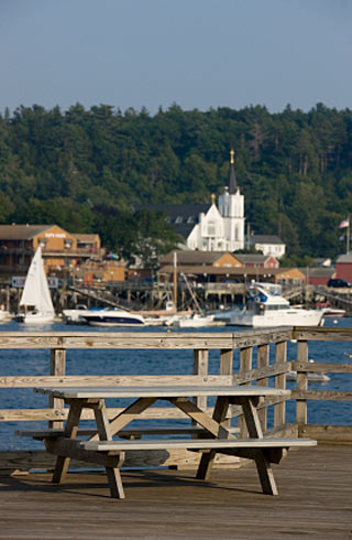 picnic table overlooking Boothbay Harbor
