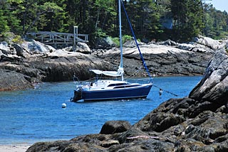 boat on mooring Maine